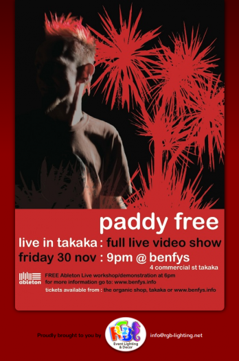 Paddy Free live in Takaka promotion page