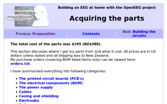 OpenEEG acquiring the parts page